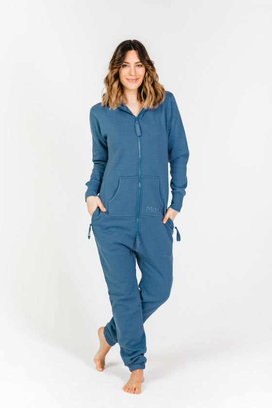 Moniz Damen Jumpsuit Blau - Jeans Blue